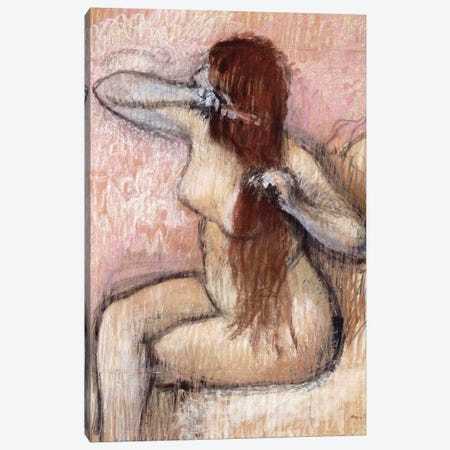 Nude Seated Woman Arranging Her Hair, c.1887-90 Canvas Print #BMN6447} by Edgar Degas Canvas Wall Art