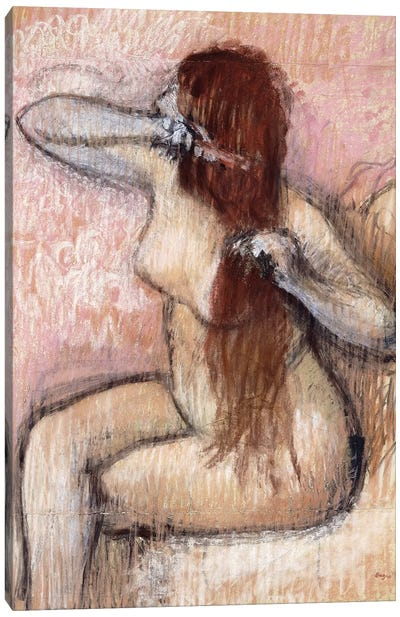Nude Seated Woman Arranging Her Hair, c.1887-90 Canvas Art Print