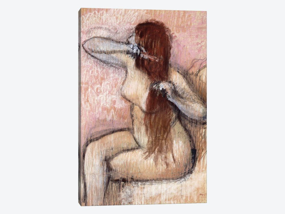 Nude Seated Woman Arranging Her Hair, c.1887-90 by Edgar Degas 1-piece Canvas Print