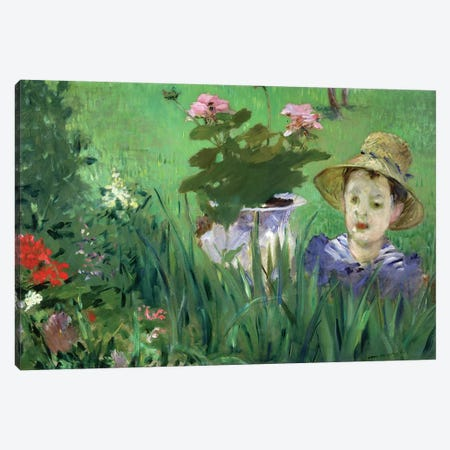 Child In The Flowers (Jacques Hoschede), 1876 3-Piece Canvas #BMN6449} by Edouard Manet Art Print