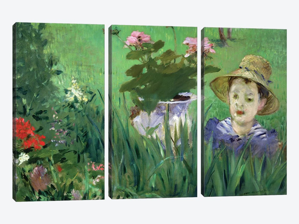 Child In The Flowers (Jacques Hoschede), 1876 by Edouard Manet 3-piece Canvas Art Print