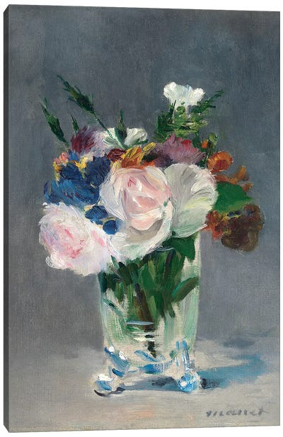 Flowers In A Crystal Vase, c.1882 Canvas Art Print