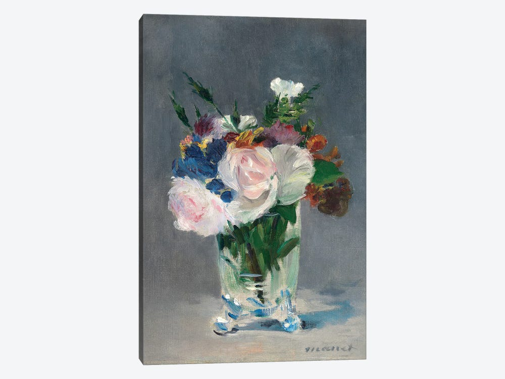 Flowers In A Crystal Vase, c.1882 by Edouard Manet 1-piece Canvas Artwork