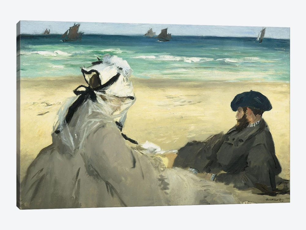 On The Beach, 1873 by Edouard Manet 1-piece Canvas Artwork