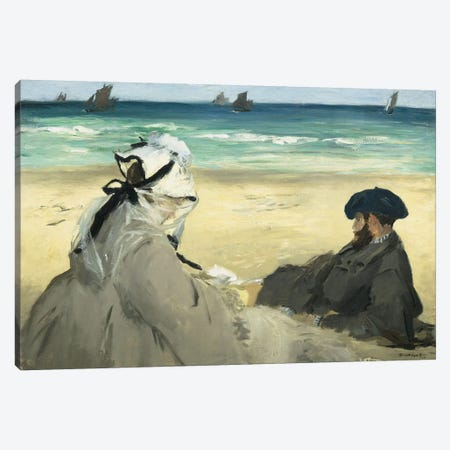 On The Beach, 1873 Canvas Print #BMN6453} by Edouard Manet Canvas Art