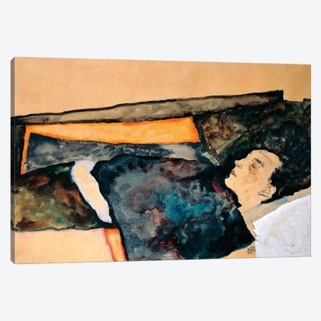 Artist's Mother Sleeping Canvas Print #BMN6458} by Egon Schiele Canvas Wall Art