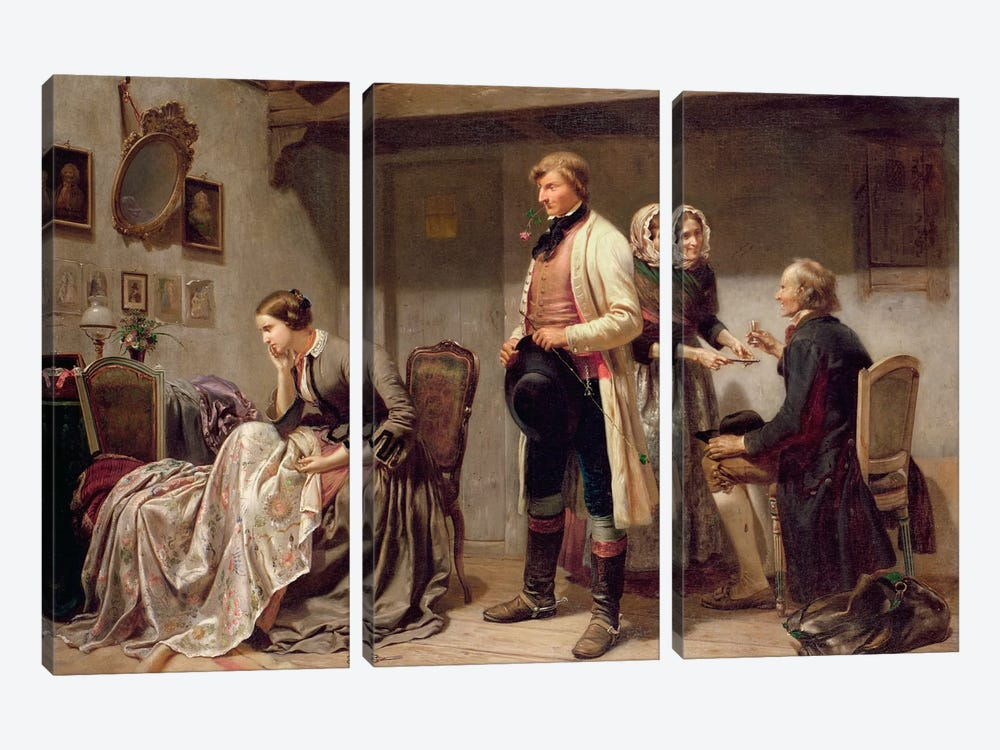 A toast to the engaged couple by Carl Wilhelm Huebner 3-piece Canvas Art