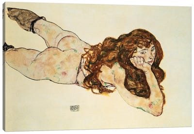 Female Nude Lying On Her Stomach Canvas Print #BMN6460