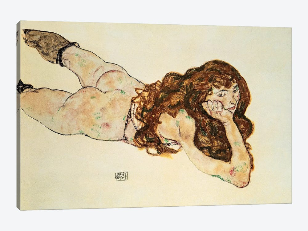 Female Nude Lying On Her Stomach by Egon Schiele 1-piece Canvas Art