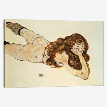 Female Nude Lying On Her Stomach Canvas Print #BMN6460} by Egon Schiele Canvas Art Print
