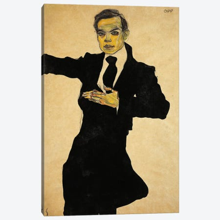 Portrait Of Max Oppenheimer, 1910 Canvas Print #BMN6463} by Egon Schiele Canvas Print