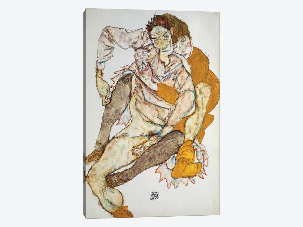 Seated Couple, 1915 by Egon Schiele 1-piece Canvas Art