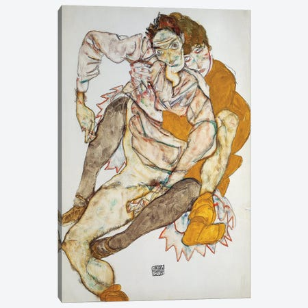 Seated Couple, 1915 Canvas Print #BMN6464} by Egon Schiele Canvas Wall Art