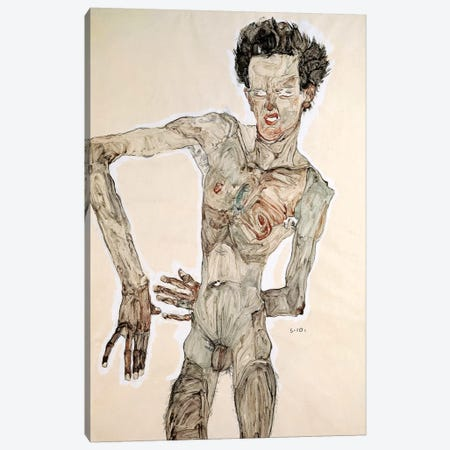 Self Portrait, Standing, 1910 Canvas Print #BMN6465} by Egon Schiele Canvas Artwork