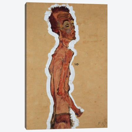 Self-Portrait, 1910 Canvas Print #BMN6466} by Egon Schiele Canvas Art