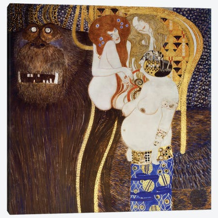 Detail Of The Hostile Forces (The Head Of Typhoeus & Unchastity, Voluptuousness, Excess), Beethoven Frieze, 1902 Canvas Print #BMN6471} by Gustav Klimt Canvas Wall Art