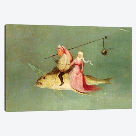 Detail Of A Couple Riding A Fish, The Temptation Of St. Anthony Canvas Print #BMN6477} by Hieronymus Bosch Art Print