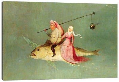 Detail Of A Couple Riding A Fish, The Temptation Of St. Anthony Canvas Print #BMN6477
