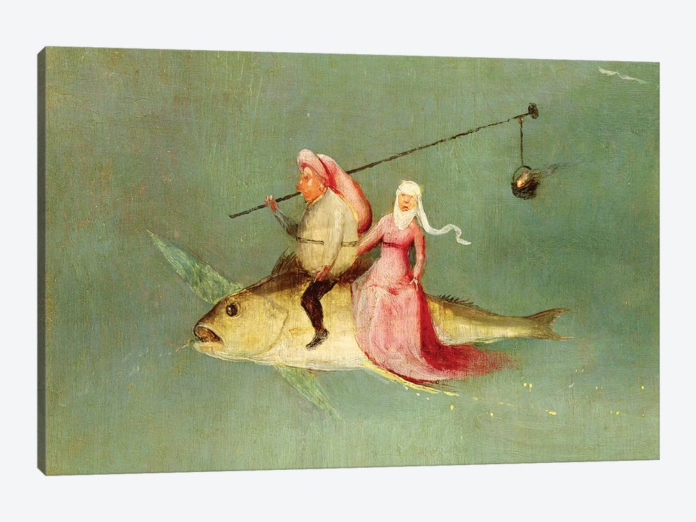 Detail Of A Couple Riding A Fish, The Temptation Of St. Anthony by Hieronymus Bosch 1-piece Canvas Art
