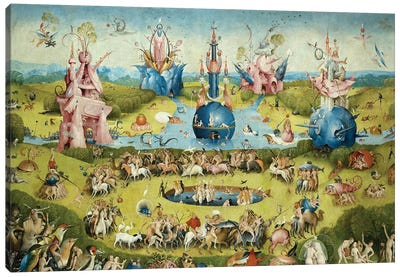 Detail Of Central Panel's Top Half, The Garden Of Earthly Delights, 1490-1500 Canvas Art Print