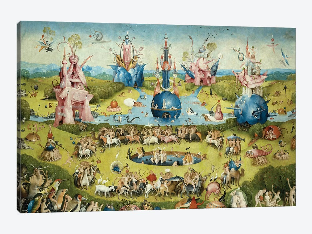 Detail Of Central Panel's Top Half, The Garden Of Earthly Delights, 1490-1500 by Hieronymus Bosch 1-piece Canvas Print