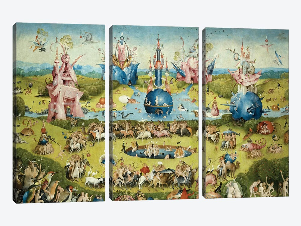 Detail Of Central Panel's Top Half, The Garden Of Earthly Delights, 1490-1500 by Hieronymus Bosch 3-piece Canvas Art Print