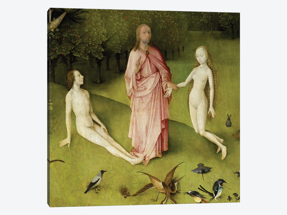 Detail Of God Presenting Eve To Adam, The Garden Of Earthly Delights, 1490-1500 by Hieronymus Bosch 1-piece Canvas Art