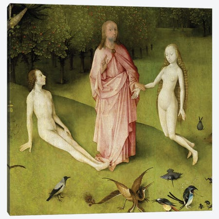 Detail Of God Presenting Eve To Adam, The Garden Of Earthly Delights, 1490-1500 Canvas Print #BMN6479} by Hieronymus Bosch Canvas Art