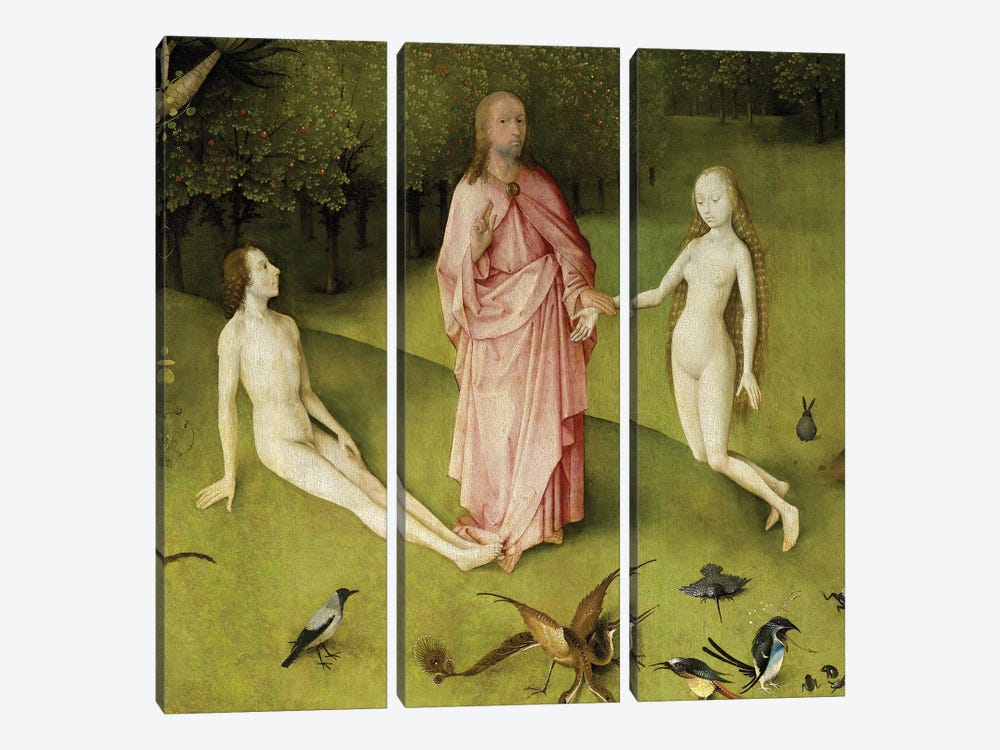 Detail Of God Presenting Eve To Adam, The Garden Of Earthly Delights, 1490-1500 by Hieronymus Bosch 3-piece Canvas Art