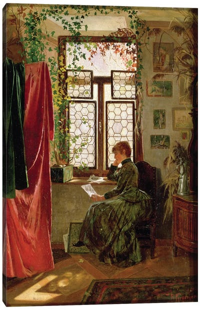 Reading the letter Canvas Art Print