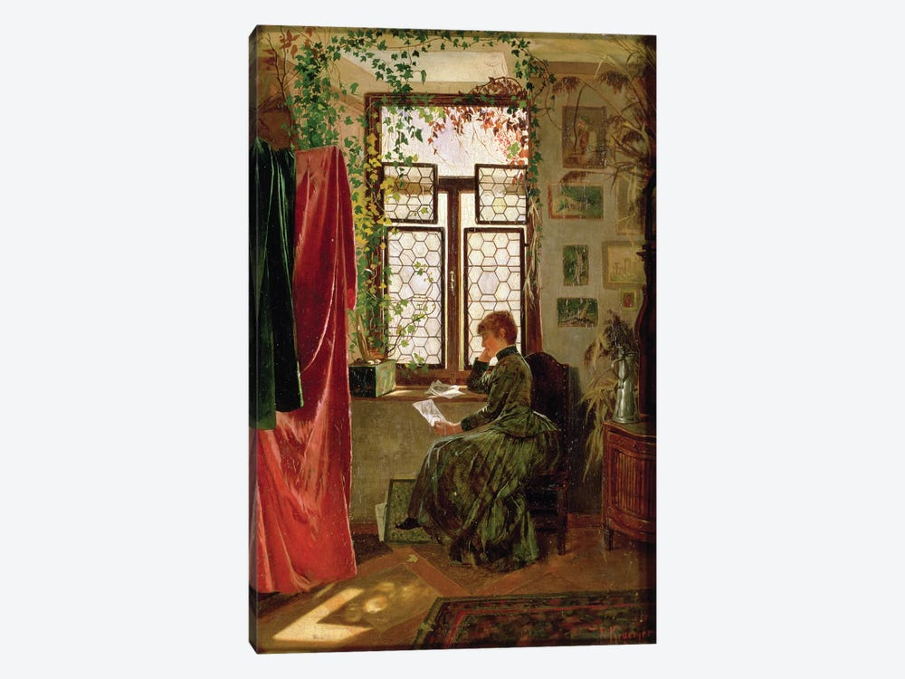 Reading the letter by Peter Kraemer 1-piece Canvas Wall Art