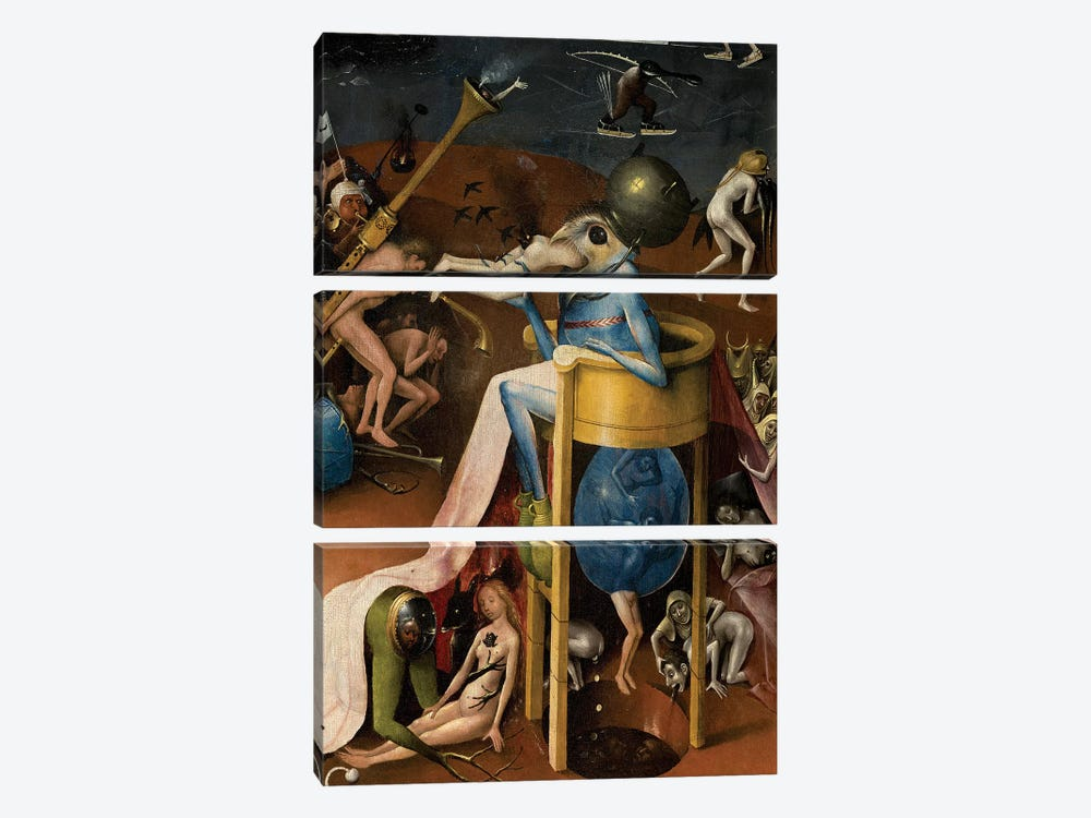 Detail Of The Prince Of Hell, The Garden Of Earthly Delights, 1490-1500 by Hieronymus Bosch 3-piece Canvas Wall Art
