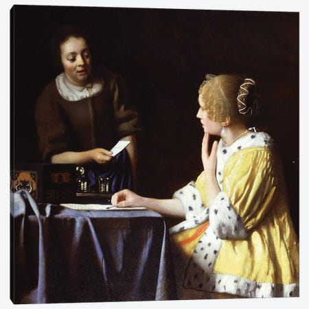 Mistress And Maid, 1666-67 Canvas Print #BMN6483} by Johannes Vermeer Canvas Art Print