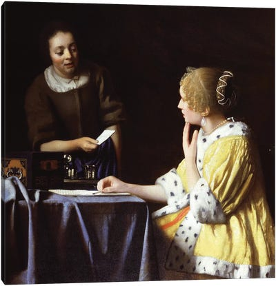 Mistress And Maid, 1666-67 by Johannes Vermeer Canvas Art Print