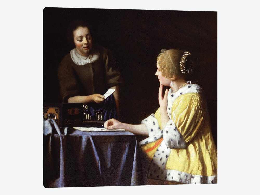 Mistress And Maid, 1666-67 by Johannes Vermeer 1-piece Art Print