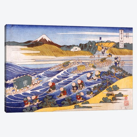 Fuji From The Ford At Kanaya Canvas Print #BMN6484} by Katsushika Hokusai Canvas Artwork