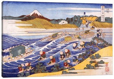 Fuji From The Ford At Kanaya Canvas Art Print