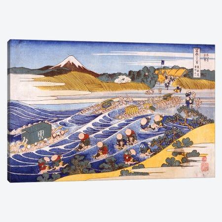 Fuji From The Ford At Kanaya Canvas Print #BMN6484} by Katsushika Hokusai Canvas Artwork
