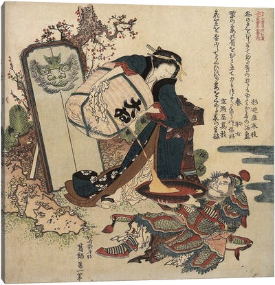 Woman Pouring Liquid From A Cask Into A Large Cup Held By A Warrior, c.1820-21 Canvas Art Print