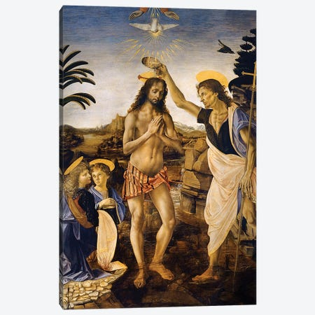 The Baptism Of Christ By John The Baptist, c.1475 Canvas Print #BMN6489} by Leonardo da Vinci Art Print