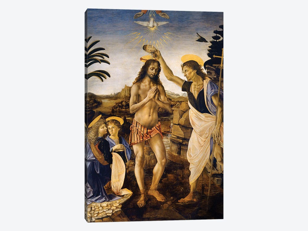 The Baptism Of Christ By John The Baptist, c.1475 by Leonardo da Vinci 1-piece Art Print