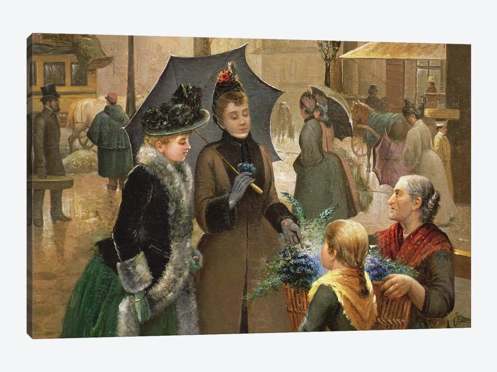 Buying flowers, 19th century 1-piece Canvas Print