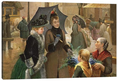 Buying flowers, 19th century Canvas Art Print