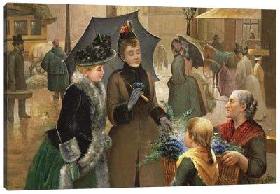 Buying flowers, 19th century Canvas Art Print
