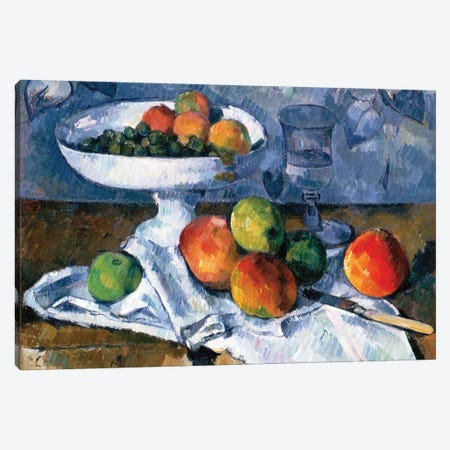 Still Life With Fruit Dish, 1879-80 Canvas Print #BMN6490} by Paul Cezanne Canvas Wall Art
