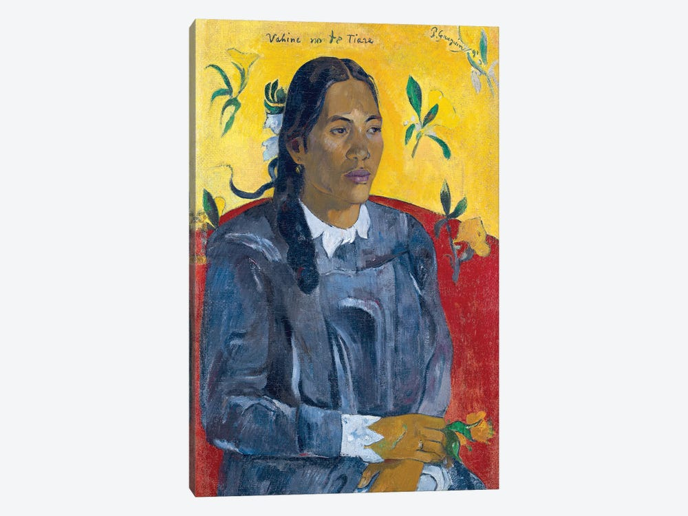 Vahine No Te Tiare (Woman With A Flower), 1891 by Paul Gauguin 1-piece Canvas Wall Art