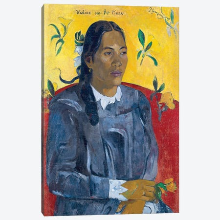 Vahine No Te Tiare (Woman With A Flower), 1891 3-Piece Canvas #BMN6495} by Paul Gauguin Canvas Art Print
