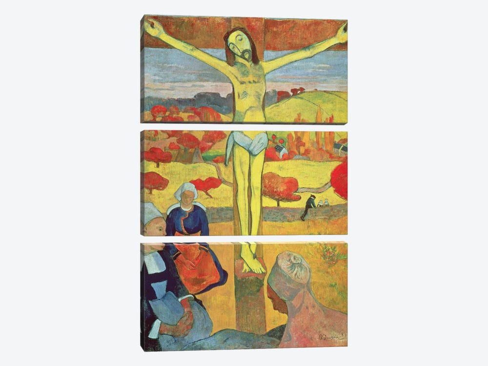 Yellow Christ, 1889 by Paul Gauguin 3-piece Canvas Print