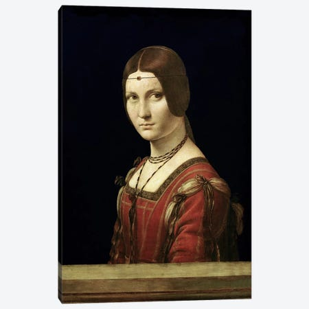 Portrait of a Lady from the Court of Milan, c.1490-95  Canvas Print #BMN649} by Leonardo da Vinci Canvas Art