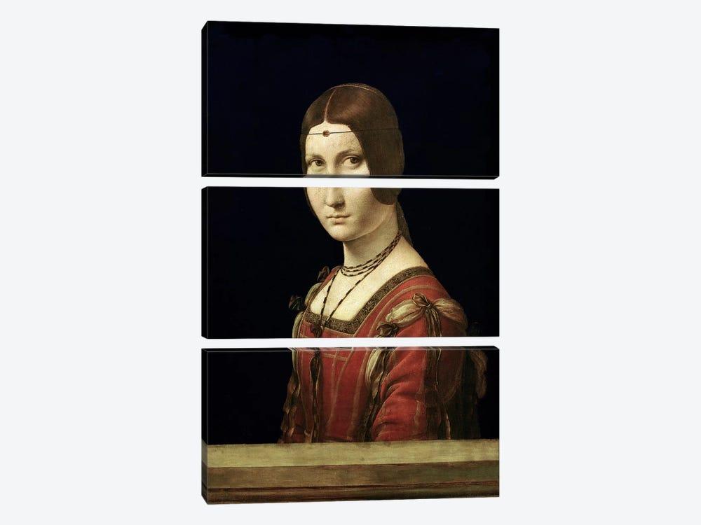 Portrait of a Lady from the Court of Milan, c.1490-95  by Leonardo da Vinci 3-piece Canvas Wall Art